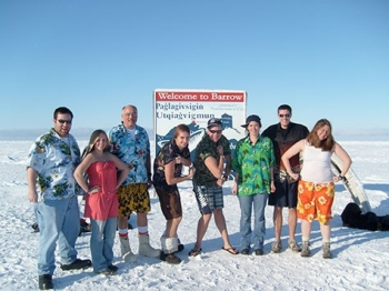 Student researchers wearing tropical clothing in the Arctic.