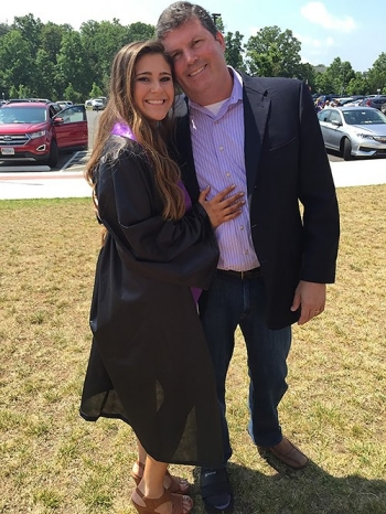 Kevin Rogers '87 with his daughter, Megan, who will be a first-year student at Radford University in the fall.