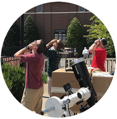 Image of Radford University students observing the solar eclipse in Nashville, Tennessee as part of the Project CATE Experiment