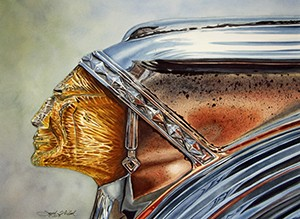 Watercolor painting of   Side view of a weathered and pitted Lucite and chrome 1949 Pontiac hood ornament
