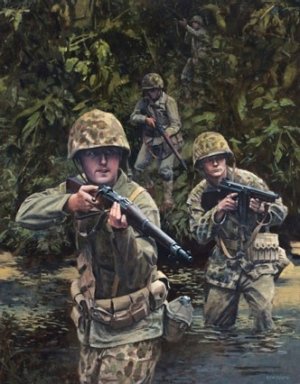 Painting of marines in WWII
