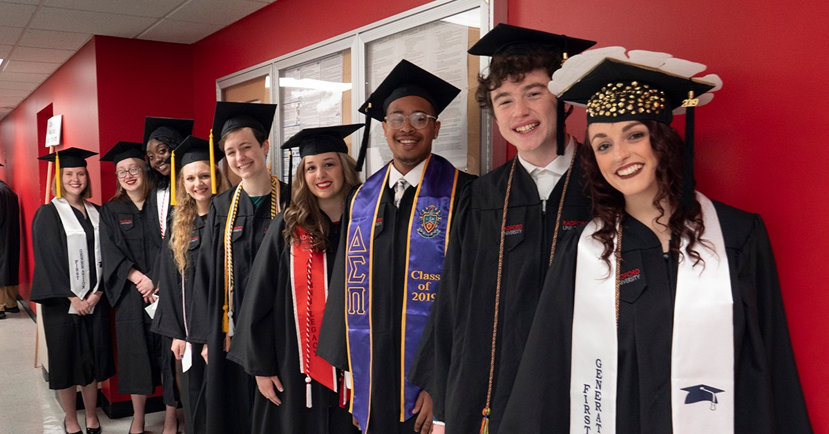 CVPA seniors line up backstage prior to commencement as they prepare to become Radford University alumni.