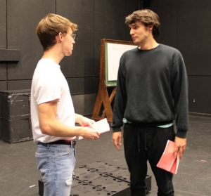 Student actors rehearse for the upcoming production of Darkside.