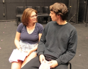 "Cast members rehearse for the October production of ""Darkside."""