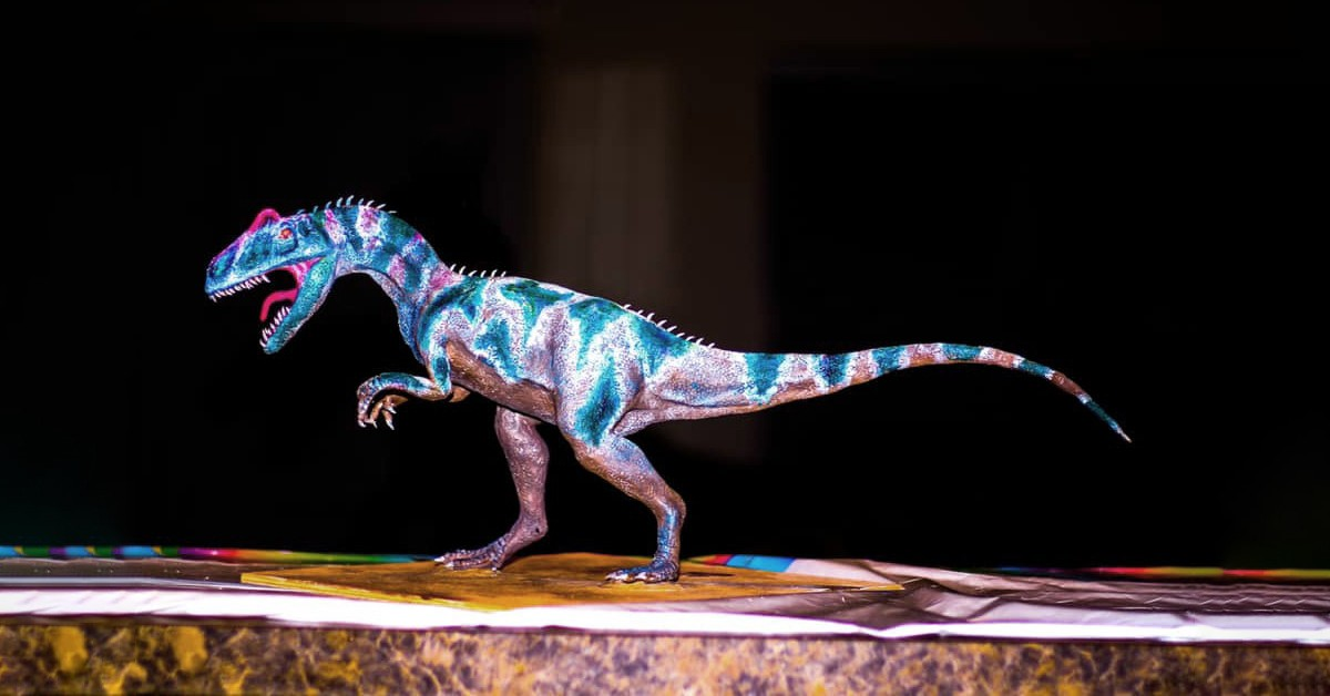 An 18-inch sculpture of allosaurus created by art student Ling Jie Gu