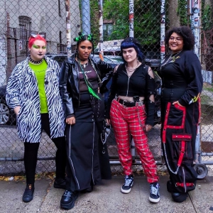 Smith poses with Depop shop owners Jessy Irimescu, Eliza Lopez and Joachris Ortiz