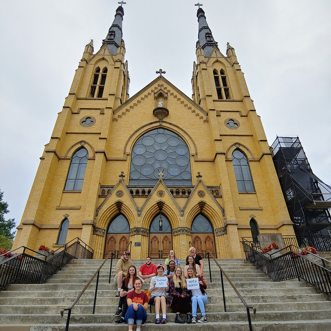 Students pose at St. Andrews Catholic Church in Roanoke, Virginia.
