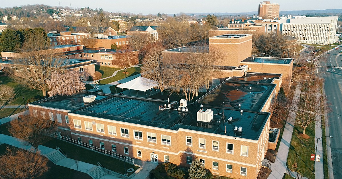 an aerial view of Porterfield Hall and McGuffey Hall