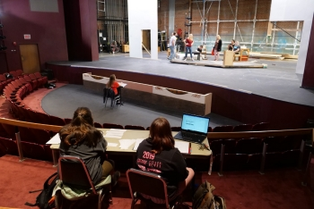 Students rehearse under the guidance of Assistant Professor Molly Hood in Pridemore Playhouse