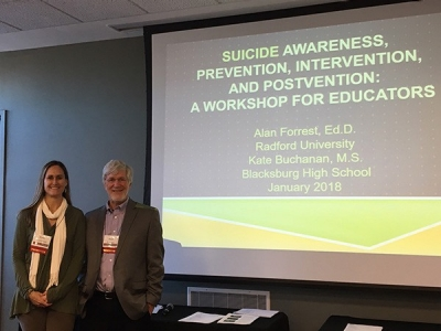 Alan Forrest, Ed.D. and Kate Buchanan, M.S., presented a one-day Suicide Awareness, Prevention, Intervention, and Postvention Workshop for Educators.