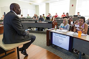 MBA students in a state-of-the-art classroom