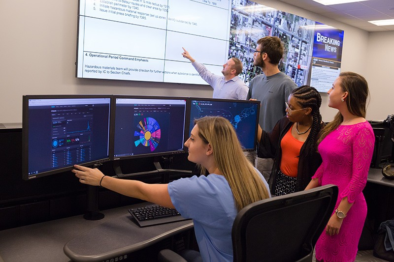 Strategic Communication graduate students learn with state-of-the-art technology in brand new facilities