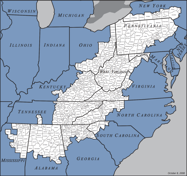 Map of Appalachia from Appalachian Regional Commission