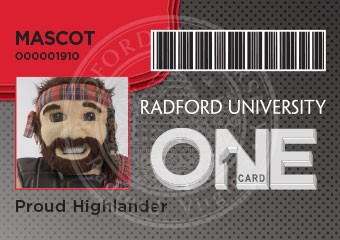 An image of the Radford University mascot, Huey the Highlander, on a Radford University ONE Card with the name Proud Highlander.