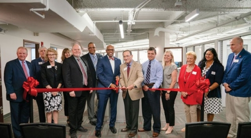 The Venture Lab ribbon cutting ceremony with President Brian O. Hemphill, Ph.D., and members of the Board of Visitors.
