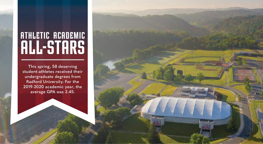 2019-2020 Athletic Academic All Stars This spring, 58 deserving student-athletes received their undergraduate degrees from Radford University. For the 2019-2020 academic year, the average GPA was 3.45.