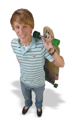Brandon Newmyer with skateboard
