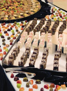 food plated for the reception