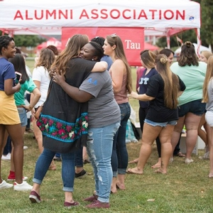 Alumni embrace at Radford University's Homecoming 2017