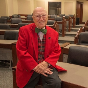 Radford University alumni Dick Baynton in his MBA classroom