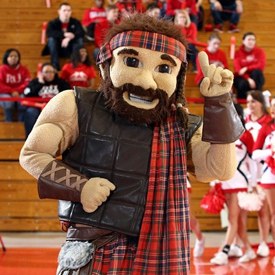 The Radford University Highlander mascot cheers on the team