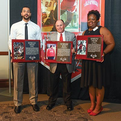 Chris Oliver '07, Don Stanley, and Tiffany Evans '07 are inducted into the Radford University Athletics Hall of Fame