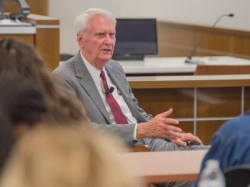 District judge James P. Jones lectures Radford University students within the Prelaw Society