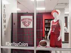 The window display within the newly renovated Russell Hall, home of Radford University's Office of Alumni Relations