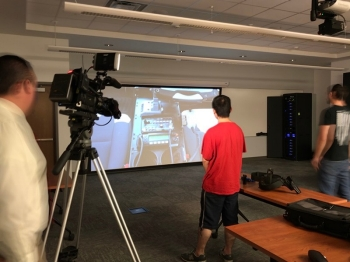 Radford University professors and students utilize the new high-tech simulator in a criminal justice course
