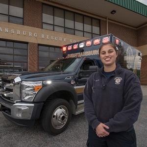Radford University nursing student Courtney Stover at EMT duty at Christiansburg Rescue Squad