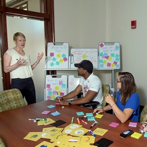 Radford University marketing professor Jane Machin designs board games with students