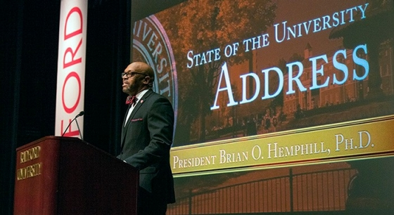 President Hemphill at the inaugural State of the University address.
