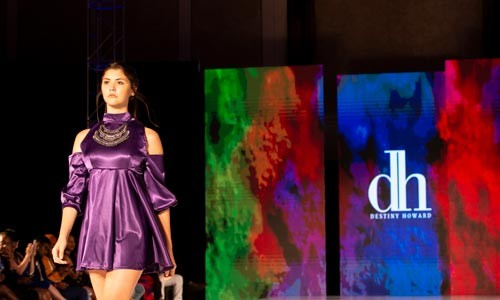 Model displaying Destiny Howard's '16 collection on the runway