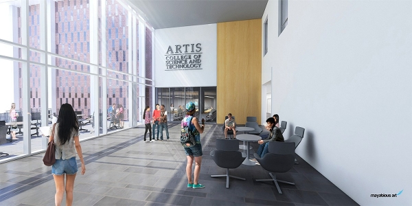 Architect's rendering of renovated Reed and Curie Halls