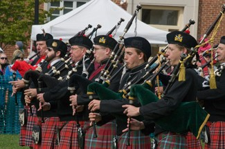 bagpipers on Moffett Quad