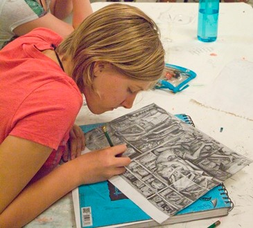Governor's School student Virginia Gagnon works on a drawing.