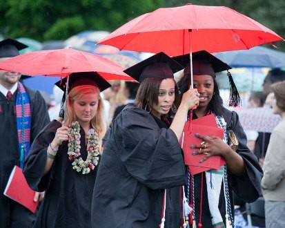 Students under umbrella