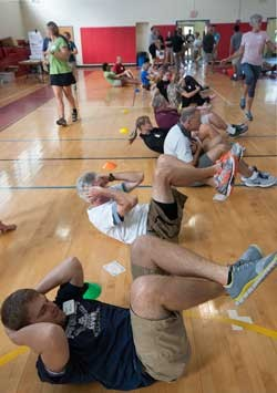 Regional PE teachers get a workout at the recent VAHPERD workshop at RU