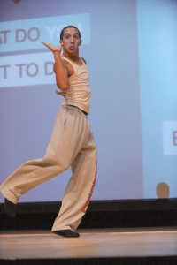 Dancer and new RU student  Mark shows his stuff on the stage of Bondurant Auditorium