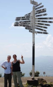 RU's Laken Cooper and Sara O'Brien pause for directions on the way to the Great Rift Valleyin Kenya