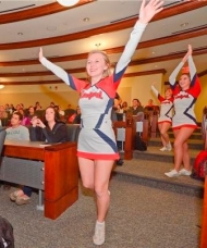 Cheerleaders at marketing class