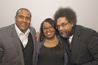 Crasha Perkins with Tavis Smiley and Cornel West.
