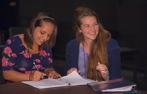 Students in a playwright and directing class