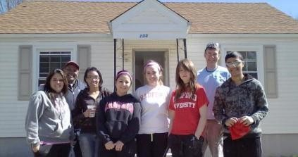 RU students volunteer at a Habitat for Humanity project in Roanoke.