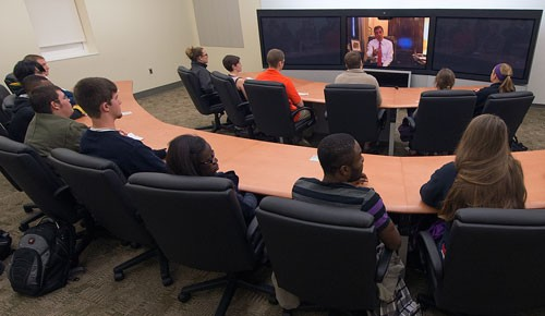 Sen. Mark Warner joins a class via Skype