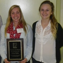 RU's Fallon Parker and Brenna Hyzy at the VATWS awards presentation ceremony.