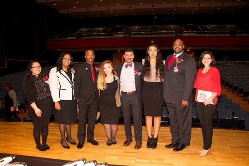 MLK program brings powerful message to RU audience (from left): Natalie Fajardo, Crasha Townsend, Christian Walker, Skye Heasley, Dr. Steve Perry, Amber Hairston, Dr. Irvin Clark, Tasia Persson