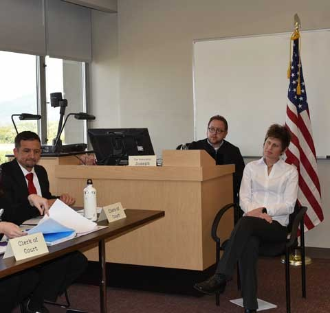 DPT mock trial action with Delegate Joseph Yost and DPT chair Kristen Jagger.