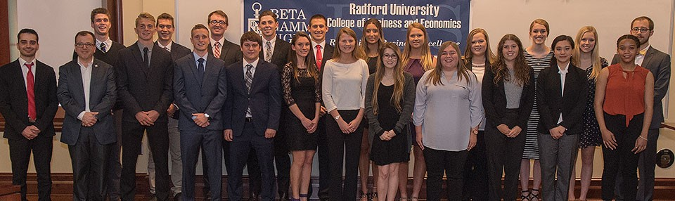 Radford University's College of Business and Economics inducted 23 new student members into Beta Gamma Sigma honor society in an April 25 ceremony at Kyle Hall.