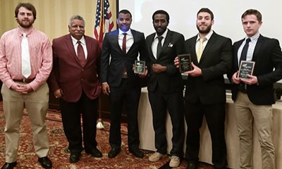 Radford University students Michael Harris, Sameh Khayat, Amanuel Dereb and Andualem Wordofa were winners at the Phi Beta Lambda State Leadership Conference April 1.